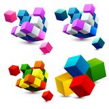 Colorful cubes icons with set perspective. 3d model of a cubes. Vector illustration. Stock Photos