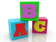 Colorful cubes with letter concept.3d illustration Royalty Free Stock Photos