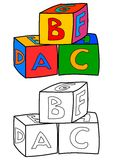 Colorful cubes with letters such as coloring books for children - vector Stock Photography
