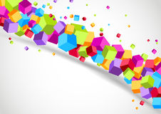 Colorful cubes line - geometrical background Stock Images