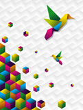 Colorful cubes in motion vector illustration