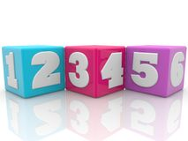 Colorful cubes with numbers. In backgrounds Royalty Free Stock Images