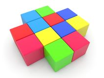 Colorful cubes stacked in cross.3d illustration Stock Images