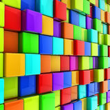 Colorful cubes wall. 3d colorful glossy cubes wall background Stock Photos