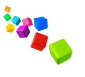 Colorful cubes on white background Stock Photo