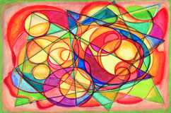 Colorful Cubist Abstract Painting. With many shapes Stock Images