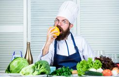 Colorful culinary. Vegetarian diet concept. Man wear apron cooking in kitchen. Man cooking healthy recipe pepper. Vegetable. Cooking as hobby and professional royalty free stock photos