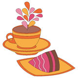 Colorful cup and cake illustration Stock Photography