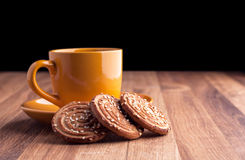 Colorful cup of coffee and cookies. Stock Photos