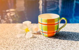 Colorful cup of coffee on the edge of pool Stock Image