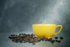 Colorful cup of coffee. With old concrete background Royalty Free Stock Image