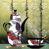 Colorful cup and pot with berry Royalty Free Stock Images
