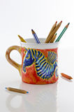 Colorful cup with sea horse Stock Photography