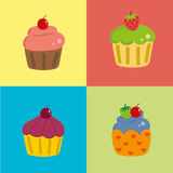 Colorful cupcake card Stock Image