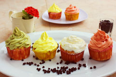 Colorful cupcake with chocolate on white platter stock images