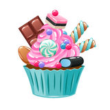 Colorful cupcake decorated with sweets and candies. Bakery vector illustration Stock Photos