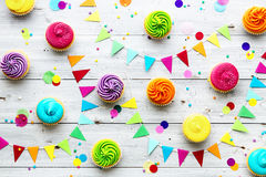 Colorful cupcake party background stock photos