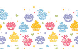Colorful cupcake party horizontal seamless pattern Stock Image