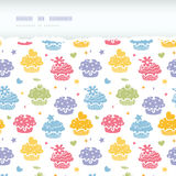 Colorful cupcake party horizontal torn seamless pattern background Stock Image