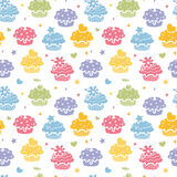 Colorful cupcake party seamless pattern background Royalty Free Stock Images