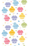 Colorful cupcake party vertical seamless pattern background Stock Images