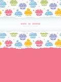 Colorful cupcake party vertical torn frame seamless pattern background Stock Image