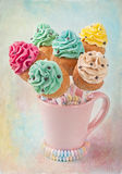 Colorful cupcake pops Stock Photos