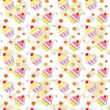 Colorful Cupcake Seamless Pattern. Colorful Cherry Cupcakes Seamless Pattern Background stock illustration