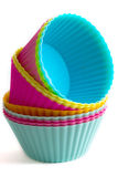 Colorful cupcake silicon molds Royalty Free Stock Photos