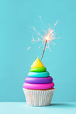Colorful cupcake with sparkler Royalty Free Stock Photography