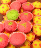 Colorful cupcakes. Set in shallow depth of field royalty free stock image