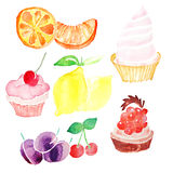 Colorful cupcakes with berries and fruits drawn by watercolor on paper. On the white background Stock Photo