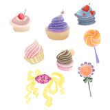 Colorful cupcakes, candies and lollipops drawn by watercolor, pencil Stock Photography