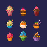 Colorful Cupcakes Collection Royalty Free Stock Photo
