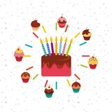 Colorful cupcakes design. Cake with candles and cupcakes around over white background. colorful design. vector illustration Royalty Free Stock Photography