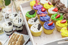 Colorful cupcakes and dessert with oreo cookies Royalty Free Stock Images