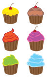 Colorful Cupcakes with Different Flavors Vector Cartoons Stock Photo