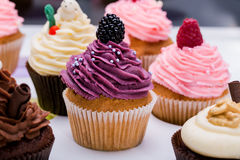 Colorful cupcakes with different Tastes. Small beautifull cakes on white table top. Close up Royalty Free Stock Image