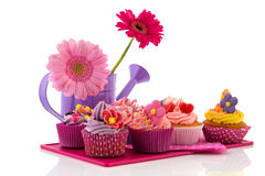 Colorful cupcakes with flowers Stock Photo