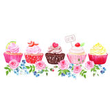 Colorful cupcakes with flowers vector design stripe Royalty Free Stock Photo