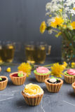 Colorful cupcakes on grey plate and table Royalty Free Stock Photos