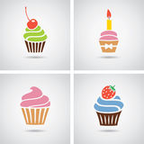 Vector colorful cupcakes icons Stock Photos