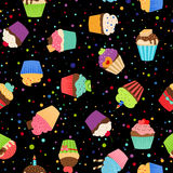Colorful cupcakes or muffins pattern Stock Photography