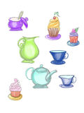 Colorful cupcakes and tea-service. Drawn by pencil Royalty Free Stock Image
