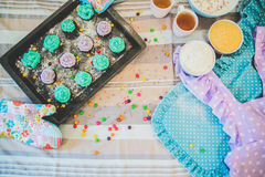 Colorful cupcakes are on the tray Royalty Free Stock Images