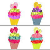 Colorful cupcakes vector background with hearts Stock Photos
