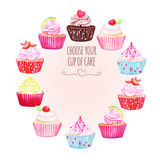 Colorful cupcakes vector design round frame. All elements are isolated and editable Royalty Free Stock Photo