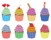 Colorful Cupcakes Vector Icon Set Royalty Free Stock Image