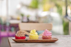 Colorful mix delicious fresh cupcakes royalty free stock images