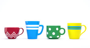 Colorful Cups. Funny colorful ceramic cups in a row on white. Clipping paths. 3D image vector illustration